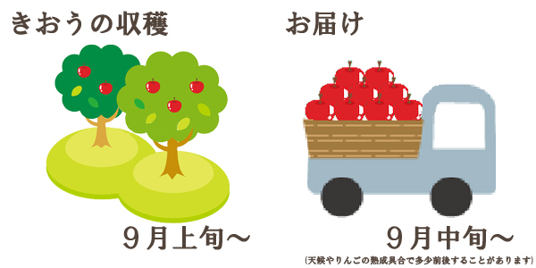 きおうの収穫は9月上旬〜お届けは9月中旬〜を予定しております。(天候やりんごの熟成具合で多少前後することがあります)