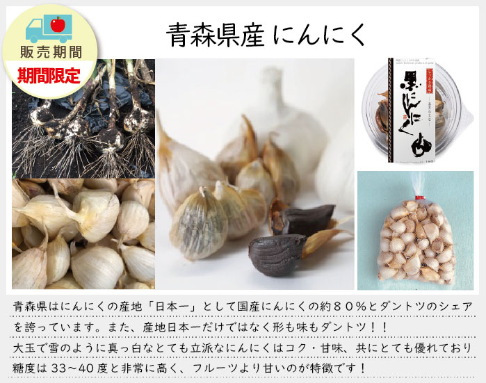 青森県はにんにくの産地「日本一」として、国産にんにくの約80%とダントツのシェアを誇っています。青森県産にんにくは寒いところで育つ寒冷種。種を植えてすぐに分厚く積もる雪をかぶって冬を越し、収穫時期までの約10カ月間、昼夜の寒暖差と季節の寒暖差との厳しい気候に耐えながらじっくりと土の中で栄養分を蓄えて育ちます。越冬の間、凍ってしまわないように糖度をあげて自身の身を守っているのです。味は、コク・甘味、共にとても優れており、糖度は33〜40度と非常に高く、フルーツより甘いのが特徴です!